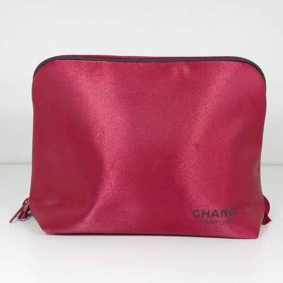 CHANEL Handbags - Chanel Parfums Red Satin Cosmetic Bag Medium Size